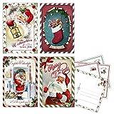 20 Vintage Weihnachtskarten, Postkarten im Retro Stil,...