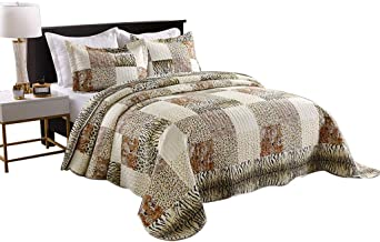 MarCielo 3 Piece Quilted Bedspread Leopard Print Quilt Quilt Set Bedding Throw Blanket Coverlet Animal Print Bedspread Ensemble Cheetah (Queen)