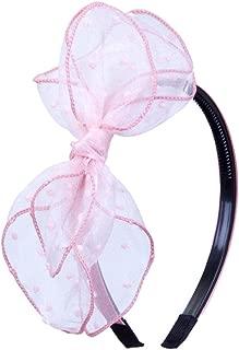 DARLING HER 1PC Girls Hair Hoop Mesh Lace Big Bow Hairbands Tiara Headband Plastic Korean Style Women Kids Pink Headwrap