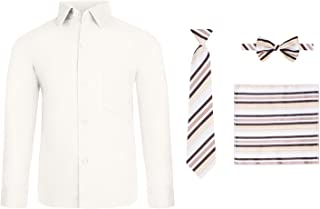 Boy's 4 Piece Dress Shirt Set with Long Tie, Bow Tie and Hanky