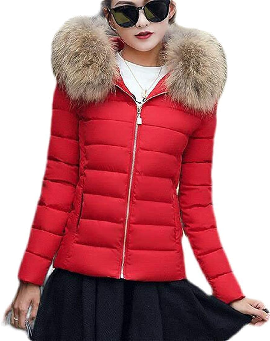 Yhsuk Women's Winter Solid Quilted Faux Fur Hooded Down Coat Puffer Jacket Outwear