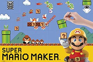Pyramid America Super Mario Maker Nintendo Wii U Side Scrolling Platform Game System Cover Box Art Cool Wall Decor Art Print Poster 36x24