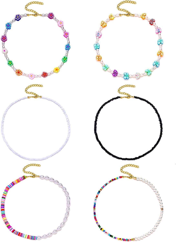 Tornito 6Pcs Heshi Bohemain Bead Pearl Choker Flower Butterfly Sufer Beach Necklace Colorful Handmade Collar Beaded Choker for Women Teen Girls
