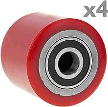 PrimeMatik - Ruota per transpallet Rullo per Pallet di Poliuretano 80x60 mm 700 kg 4-Pack
