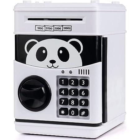 Panda MYSNKU Cartoon Electronic Password Piggy Bank Cash Coin Can,Mini ATM Auto Scroll Paper Money Saving Box Best Toy Gifts for Kids