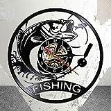 UIOLK Creatividad Retro Reloj de Pared de Pesca Pez mecánico Luz de Noche LED Reloj de Pared de Cocina Regalo de Pescador de Pesca Hecho de Discos de Vinilo Reales
