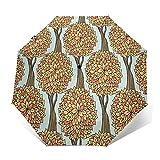 Paraguas Plegable Automático Impermeable Bosque de Troncos de otoño, Paraguas De Viaje Compacto...