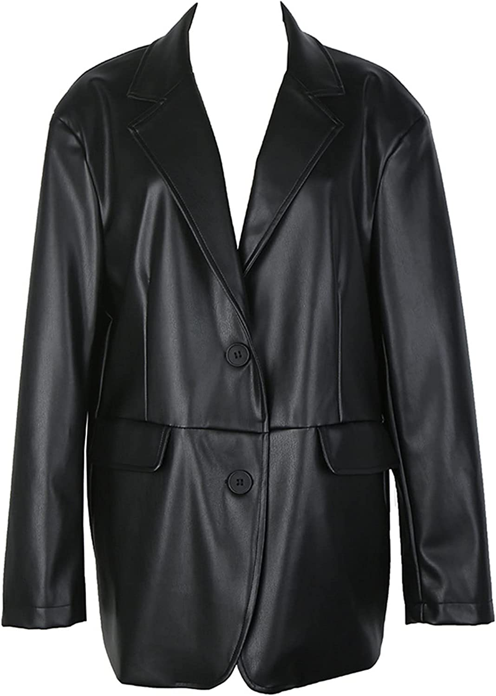 KSFBHC Streetwear PU Leather Jacket Women's Autumn Laple Loose Single Breasted Long Sleeve Coat Female (Color : Black, Size : One Size)