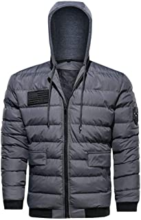 Coat Men's Beautyfine Winter Casual Patchwork Detachable Cotton-Padded Hooded Jacket