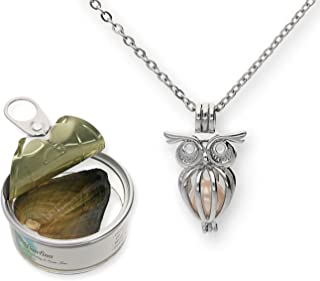 Pearlina Owl Cultured Pearl in Oyster Necklace Set Silver-Tone Cage w/Stainless Steel Chain 18