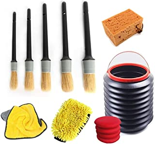 AIVS 13 Pcs Car Cleaning Tools Kit with Auto Detailing Brush,Microfiber Wax Applicator Pads  Microfiber Premium Scratch-Free Wash Mitt  Wash Sponge Microfiber Cleaning Towel Folding Bucket