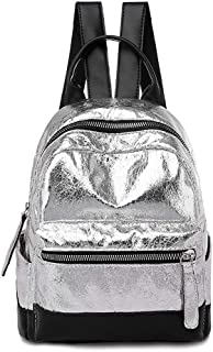 Sequin Backpack The Street Trend Student School Bag High Capacity Travel Backpack ; (Color : Silver)