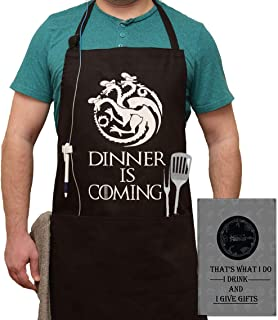 Dinner is Coming Game of Thrones Premium Quality Kitchen Apron, Unisex for Cooking, Baking, Grilling, Gardening, Cleaning, Crafting, Woodworking or BBQ, for a GOT Fan (House Targaryen)