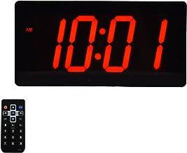 "Large Digital Wall Clock - Best Alarm Clock with Remote Control - 4"" Digits LED Calendar and Temperature Clock"