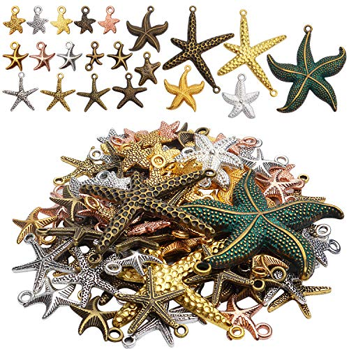 100g Mixed Alloy Plated Starfish Charms Crafts Ocean Charms Pendant for DIY Bracelets Craft Supplies Jewelry Findings