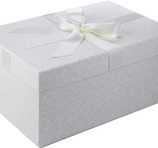 Box Boutique Caja para Vestido de Novia con diseño Laberinto Blanco, Tallas S, M o L, Caja de cartón, Vestido de Boda, Incluye Papel de Seda, Large