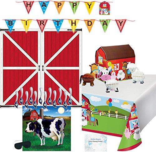 Decoración de fiesta de granja, pancarta de cumpleaños, mantel, telón de fondo de granja, centro de centro de animal, Pin la cola en el juego de vaca – suministros perfectos...