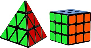 OBEST [2020最新] パズルセット スピードキューブ 3x3x3 ピラミンクス 2個入り 回転スムーズ 競技用 世界基準配色 知育玩具 トレス解消 脳トレ ポップ防止 スタンド付き