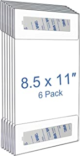 NIUBEE 8.5x11 Clear Acrylic Plexi Sign Holders with 3M Tape, Wall Sign Memo Document Menu Holder for Office, Home, Store, Restaurant-No Drilling (6 Pack)