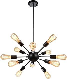mirrea Sputnik Chandelier Vintage Edison Light Fixture Industrial Starburst Lighting with 12 Lights Black Paint Finished Metal