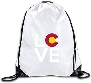 Cute Colorado Love Drawstring Backpack Bag Gym Sack