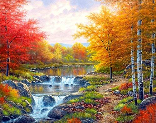 Pintura de bricolaje por números para paisajes decoración del hogar pintura al óleo por números conjunto completo para adultos paisaje de cascada A16 40x50cm