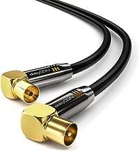 deleyCON 2m TV Cable de Antena HDTV Full HD 2X en Ángulo Cable Coaxial - Enchufe de TV (90° Grados) para Toma de TV (90° Grados) Tapón de Metal - Negro