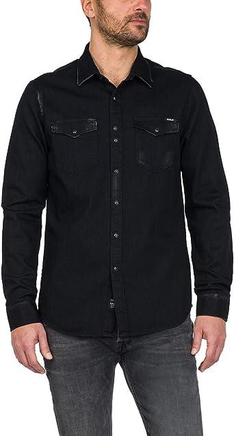 REPLAY Camisa de hombre negra de tela vaquera con efecto ...