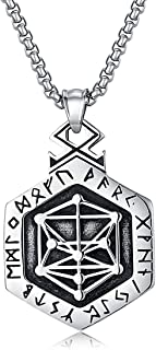 Valily Nordic Viking Rune Necklace Pendant for Men Stainless Steel Double Sided Vegvisir Compass Ring Amulet Viking Jewelry
