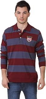 Men's Polo Collar Full Sleeves Striped T-Shirt