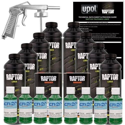 U-POL Raptor Emerald Green Urethane Spray-On Truck Bed Liner & Texture Coating W/Free Spray Gun, 8 Liters