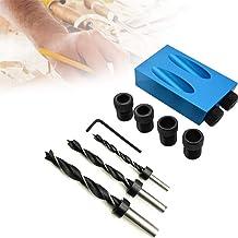 Kit de plantilla de orificio de bolsillo de unidad de ángulo de broca de 15 grados con adaptador de unidad de orificio de 6/8 / 10mm para guía de taladrado con ángulo de carpintería