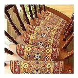Peldaños De Escalera Alfombra Antideslizante|Alfombrilla para Escaleras Interior|Tapetes Decorativos Autoadhesivos para Escaleras|Hermosas Alfombras De Escalera De Diseño Floral-Camello_15pcs