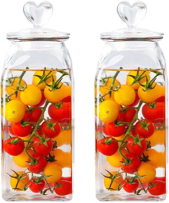 ZANZAN Square Glass Sealed Jar Set Contain NEW before selling ☆ of 2 Food Brand Cheap Sale Venue Storage