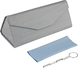 Stone-la Foldable Portable Eyeglass Cases Magnet Glasses Case for Sunglasses, Eyeglasses, Reading Glasses +clean cloth+tools (Grey wood)