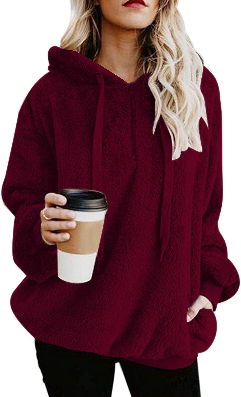 Century Star Womens Fuzzy Hoodies Pullover Sport Hoodie Cozy Oversized Pockets Hooded Sweatshirt Athletic Fleece Hoodies