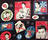 'I'm Waiting Under The Mistletoe' Christmas Elvis Presley Fabric Panel - 10 Iron On Patches (Great for Quilting, Sewing, Craft Projects, a Quilt, Throw Pillows & More) 12.5' X 14.5' Wide