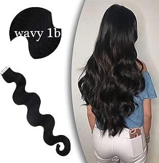 VeSunny Long Human Hair Extensions Wavy Tape in Black Virgin Hair 24