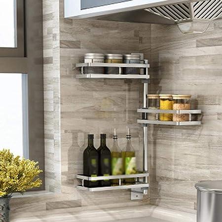 Luerme Estante de cocina sin perforar, organizador de pared rotativo, para especias, para esquinas y estantes de pared, para cuadros de pared de acero ...