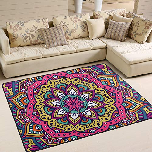 Naanle Alfombra étnica Hippie antideslizante para sala de estar, comedor, dormitorio, cocina, 60 x 90 cm, mandala floral, alfombra de yoga