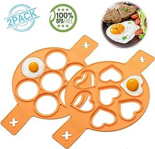 2 Pack Silicone Pancake mold, Nonstick Egg Ring Maker,Baking Round/Heart Shape Mold