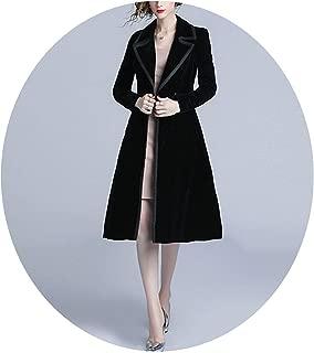 Colorful Dream- Elegant Women Winter Velvet Black Long Women Clothing Oversize Long Sleeve Trench Coat