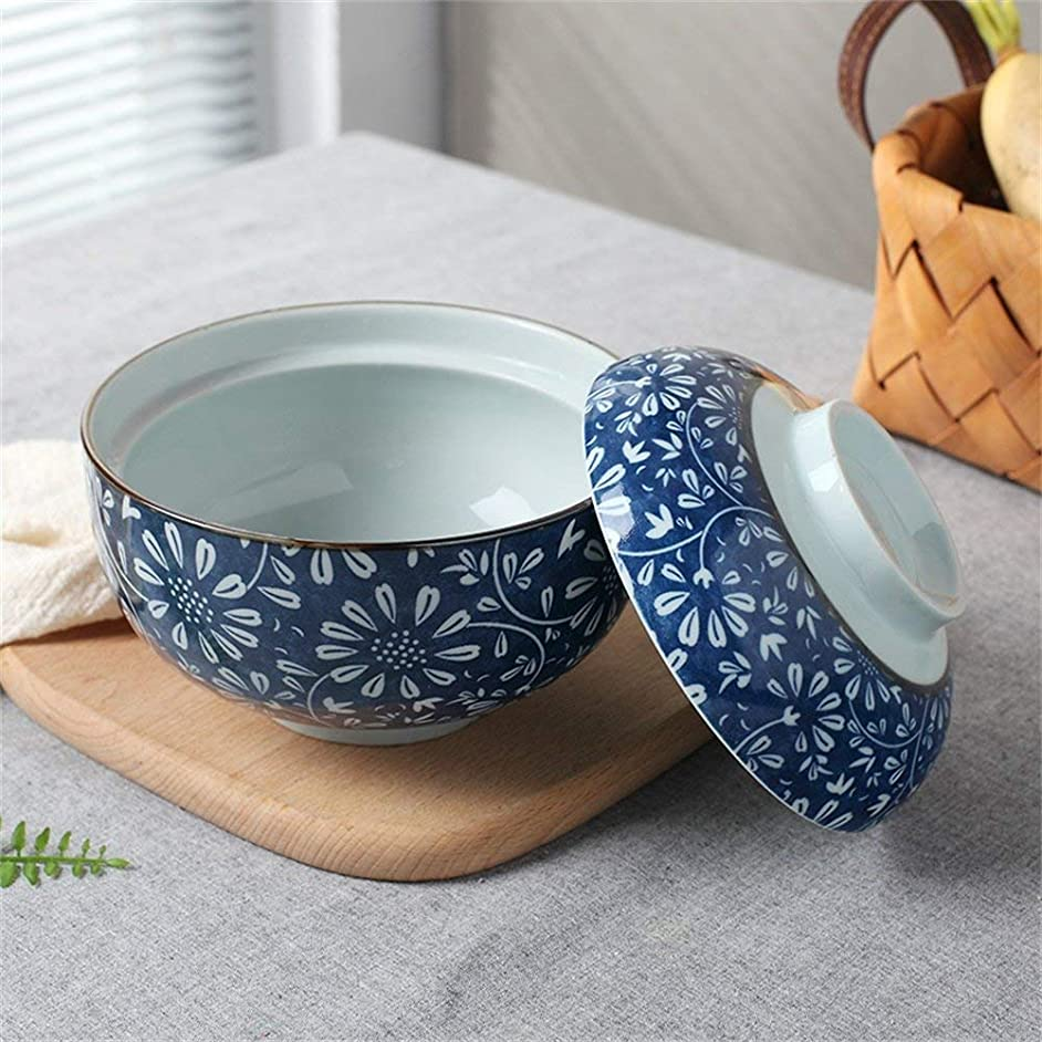 EXQUISITE Salad Bowl Ceramic Soup Bowl with Lid and Handle Instant Noodle Bowl Fruit Salad Rice Steamed Egg Stewed Cubilose Cup Mixing Serving Bowl Tureen Oven Microwave Safe 6.5 Inches (Color : A) Bo