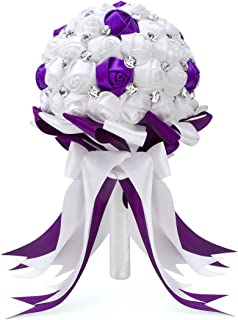 FAYBOX Crystal Satin Rose Bridal Bridesmaid Bouquets Wedding Flower Decor