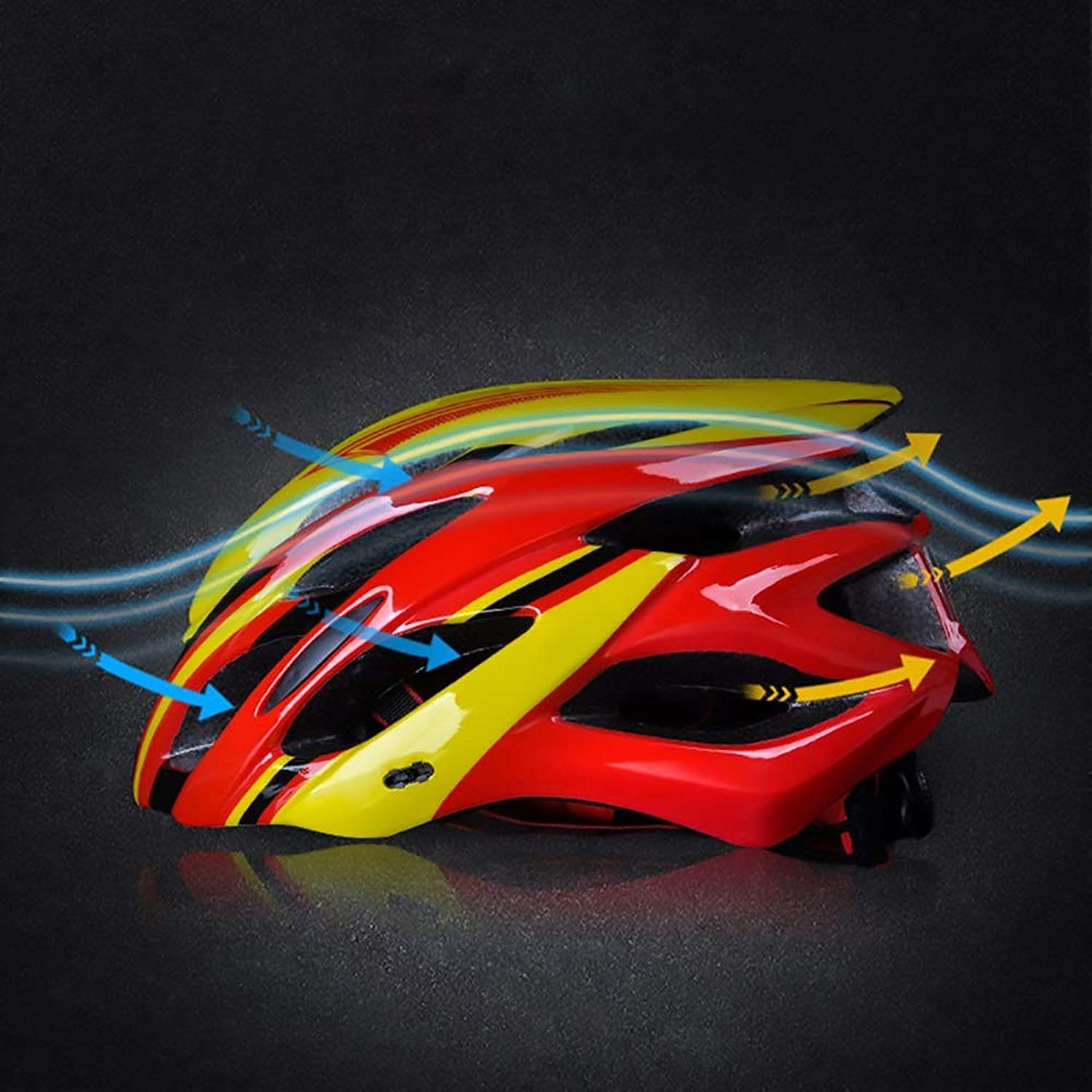 Songlin@yuan Red and Yellow 21 Hole Adult Bicycle Breathable Helmet Riding Electric Car Motorcycle Helmet Bicycle Mountain Bike Helmet Outdoor Riding Equipment Predection