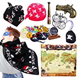 181pcs Pirate Decorations, Pirate Treasure Chest for Kids + Pirate Accessories, Pirate Party Supplies Favors Decor