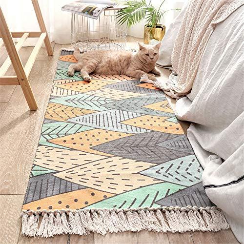 YUNSW Einfache Handgewebte Quaste Baumwolle Bodenmatte Rechteckigen Haushalt Schlafzimmer rutschfeste Teppich Fuß Pad Maschinenwaschbar Teppich