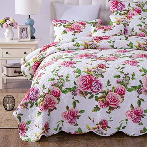 beautiful pink roses pattern bedding set