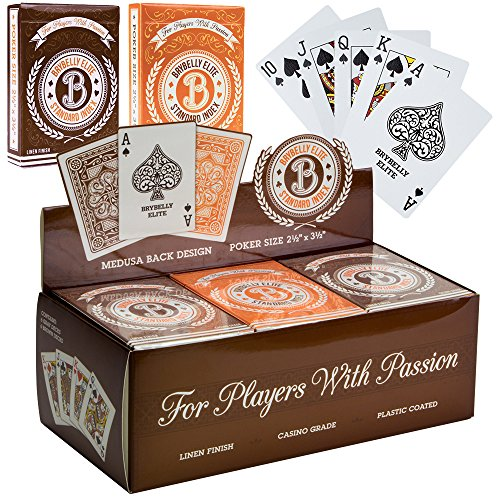 Brybelly 12 Decks of Elite Medusa Back Casino-Quality Playing Cards – Poker Wide Size/Regular Index, Plastic-Coated Cards with Pop-Out Box
