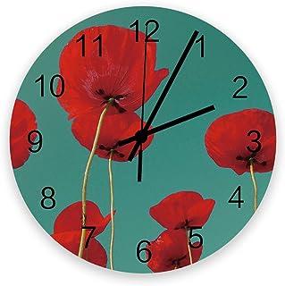 Amazon Com Red Poppy Decor Wall Clocks Clocks Home Kitchen
